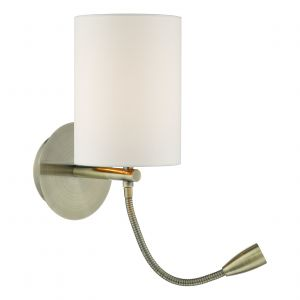 DAR FET0775 Feta Double LED Wall Light Antique Brass Finish Switched (Base Only)