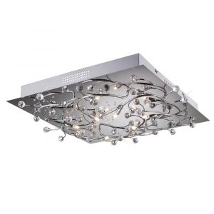 Diyas IL30636  Fia Ceiling Square 6 Light With White LEDs Polished Chrome/Crystal