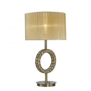 Diyas IL31720 Florence Round Table Lamp With Soft Bronze Shade 1 Light Antique Brass/Crystal