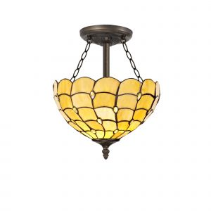 Nu Florence, Tiffany 30cm Shade, Beige/Clear Crystal c/w Semi Ceiling Kit, 3 x E27, Aged Antique Brass