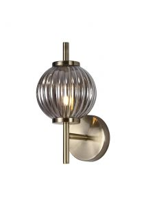 Nu Forge Wall Lamp, 1 x G9, Antique Brass/Smoked Glass