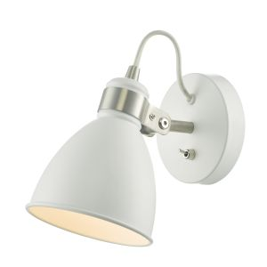 DAR FRE0702 Frederick Single Wall Light White/Satin Chrome Finish Switched