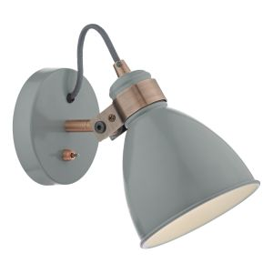 DAR FRE0739 Frederick Single Wall Light Grey/Copper Finish Switched