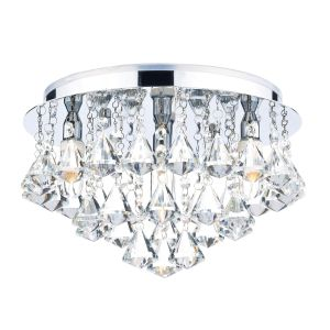 DAR FRI0450 Fringe 4 Light Bathroom Flush Crystal/Polished Chrome Finish