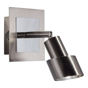 DAR FUT0746 Futura Single LED Wall Spotlight Polished Chrome/Satin Chrome Finish Switched