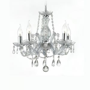 Deco D0018 Gabrielle Chandelier With Acrylic Sconce & Glass Droplets 5 Light E14 Polished Chrome Finish