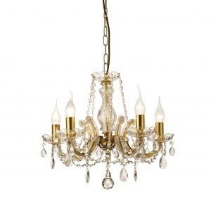 Deco D0021 Gabrielle Chandelier With Glass Sconce & Glass Crystal Droplets 5 Light E14 Polished Brass Finish