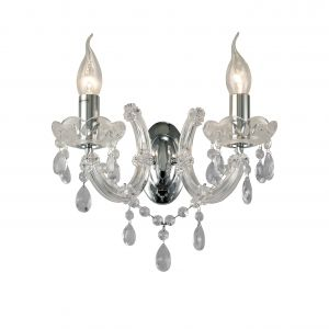 Deco D0024 Gabrielle Wall Lamp 2 Light E14 With Glass Sconce & Glass Droplets/Polished Chrome
