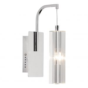 DAR GAL0750A-LED Galileo Single LED Wall Light Crystal/Polished Chrome Finish