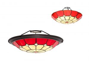 Galactic, Tiffany 35cm Non-electric Uplighter Shade, Ccrain/Red/Clear Crystal Centre/Aged Antique Brass Trim