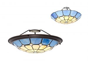Galactic, Tiffany 35cm Non-electric Uplighter Shade, Ccrain/Rich Blue/Clear Crystal Centre/Aged Antique Brass Trim