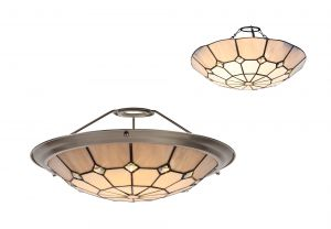 Galactic, Tiffany 35cm Non-electric Uplighter Shade, Ccrain/Grey/Crystal Centre/Satin Nickel Brass Trim