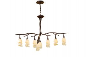 *## (0017 002) Gaudi Pendant 3 Arm 9 Light G9, Brown/Black Oxide