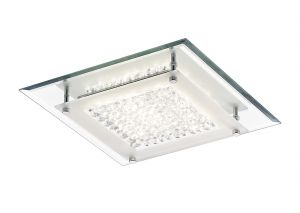 Deco D0069 Gina Ceiling, 280mm Square, 12W 960lm LED 4000K Polished Chrome/Crystal