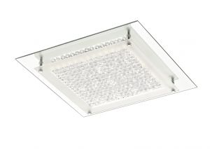 Deco D0070 Gina Ceiling, 360mm Square, 18W 1440lm LED 4000K Polished Chrome/Crystal