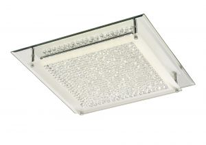 Deco D0071 Gina Ceiling, 420mm Square, 21W 1680lm LED 4000K Polished Chrome/Crystal