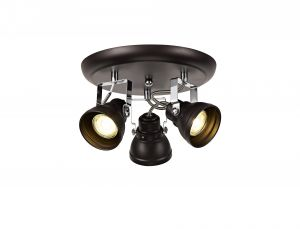 Nu Gowan Adjustable Round Spotlight, 3 x GU10 (Max 10W LED), Oiled Bronze/Polished Chrome
