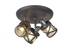 Nu Graber 3 Light Round Spotlight E14, Matt Grey/Polished Chrome/Cognac