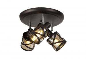 Nu Graber 3 Light Round Spotlight E14, Oiled Bronze/Polished Chrome/Amber