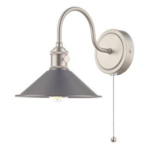Dar HAD0761-02 Hadano Single Wall Light Antique Chrome With Antique Pewter Shade Finish