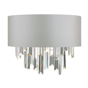 Dar HAL0939 Halle Single Wall Light Grey/Crystal/Shade Finish