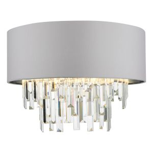 Halle 4 Light G9 Grey Flush Ceiling Light C/W Shade And Crystal Droplets