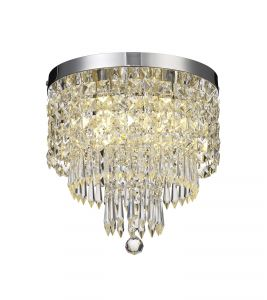 Harwell Ceiling Light, 4 x G9, IP44, Polished Chrome/Crystal