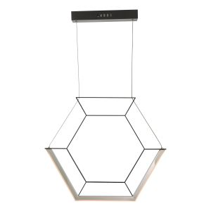 Dar HEX0122 Hexagon Single Pendant Black LED Finish