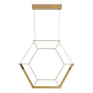 Dar HEX0135 Hexagon Single Pendant Gold LED Finish