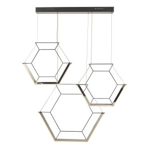 Dar HEX0322 Hexagon 3lt Pendant Black LED Finish