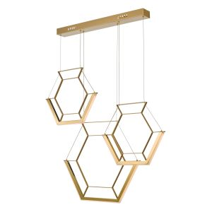 Dar HEX0335 Hexagon 3lt Pendant Gold LED Finish