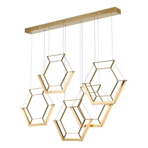 Dar HEX0535 Hexagon 5lt Pendant Gold LED Finish