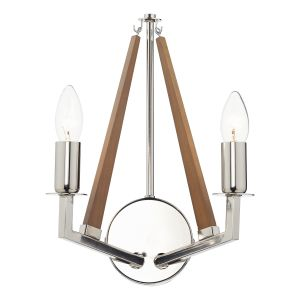 DAR HOT0938 Hotel Double Wall Light Nickel/Light Wood Finish Switched