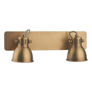 DAR IDA7775 Idaho Double Wall Light Brass Finish Switched