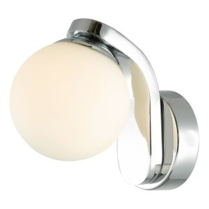 DAR IKE0750 Iker Single Bathroom Wall Light LED Polished Chrome/Opal Glass Finish Switched