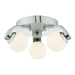 DAR IKE5350 Iker 3 Light Bathroom LED Flush Polished Chrome/Opal Glass Finish