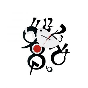 Diyas Home IL70094 (DH) Infinity Picasso Clock Black/Silver/Red