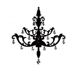 Diyas Home IL70102 (DH) Infinity Chandelier Clock Black/Smoked Crystal/Clear Crystal
