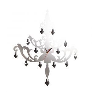 Diyas Home IL70103 (DH) Infinity Chandelier Clock Stainless Steel/Smoked Crystal/Clear Crystal