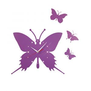Diyas Home IL70105 (DH) Infinity Butterfly Clock Purple/Crystal