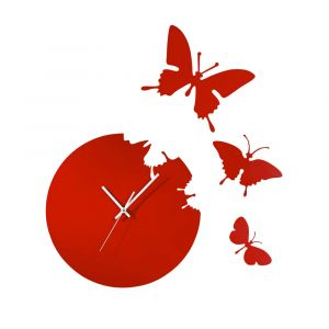 Diyas Home IL70113 (DH) Infinity Cutout Butterfly Clock Red