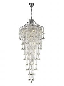 Diyas IL30775 Inina Tall Pendant 9 Light Polished Chrome/Crystal