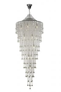 Diyas IL30776 Inina Tall Pendant 15 Light Polished Chrome/Crystal