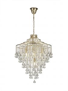Diyas IL32772 Inina Pendant 7 Light E14 French Gold/Crystal