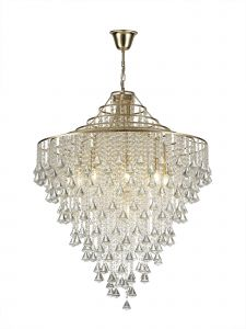Diyas IL32773 Inina Pendant 9 Light E14 French Gold/Crystal