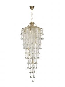 Diyas IL32775 Inina Tall Pendant 9 Light E14 French Gold/Crystal