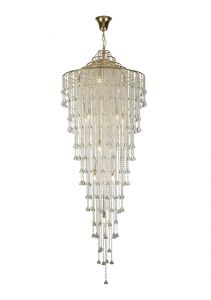 Diyas IL32776 Inina Tall Pendant 15 Light E14 French Gold/Crystal