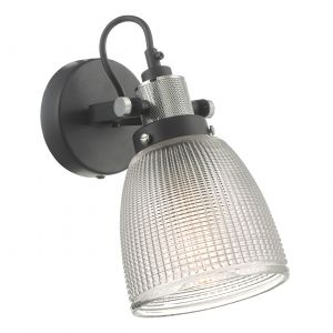 Dar ISM0722 Ismet Single Wall Light Black Polished Chrome And Textured Glass Finish