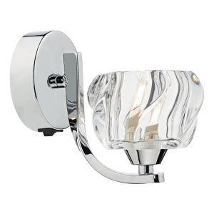 DAR IVY0750 Ivy Single Wall Light Polished Chrome/Clear Glass Finish Switched