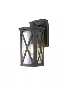 Nu Breno Down Criss Cross Wall Lamp, 1 x E27, IP54, Anthracite/Clear Glass, 2yrs Warranty